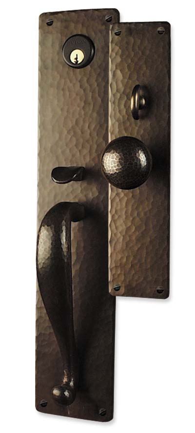 Arts And Crafts Style Hand Crafted Copper Large Entry Sets Exterior