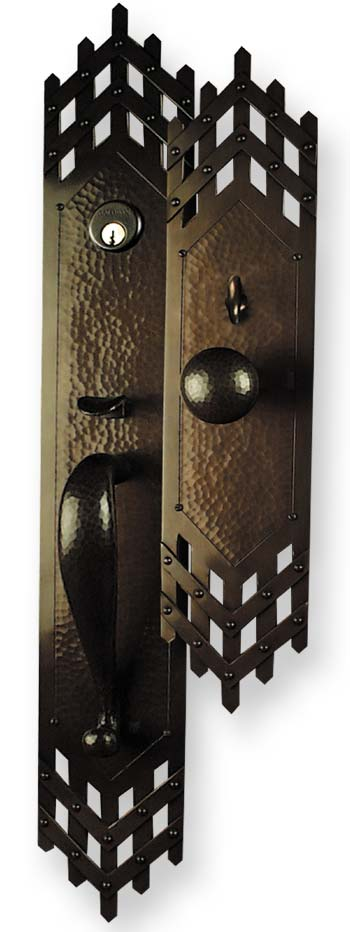 Arts and crafts style hand crafted copper large entry sets for Arts and crafts door