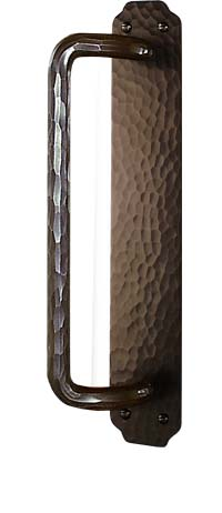 arts and crafts greene and greene style hand crafted hand hammered copper sliding door conversion door hardware