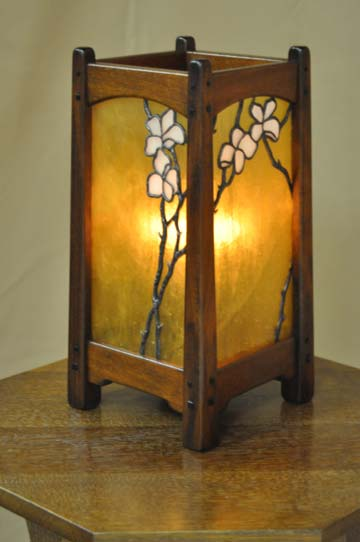arts and crafts greene and greene style table lamp of african mahogany with hand crafted art glass