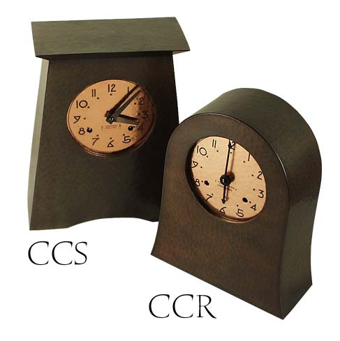 arts and crafts style hand crafted hand hammered copper mantle clocks with eight day german mechanical movement