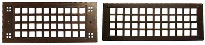 arts and crafts style hand crafted copper grilles and registers