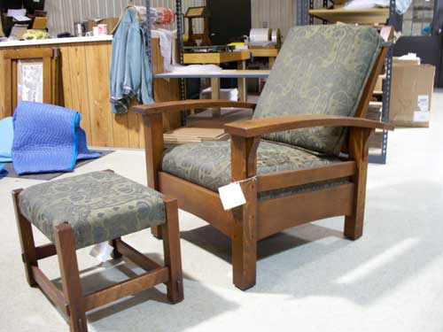 craftsmen hardware company bow arm morris chair with ottoman by hile studio vintage 2000